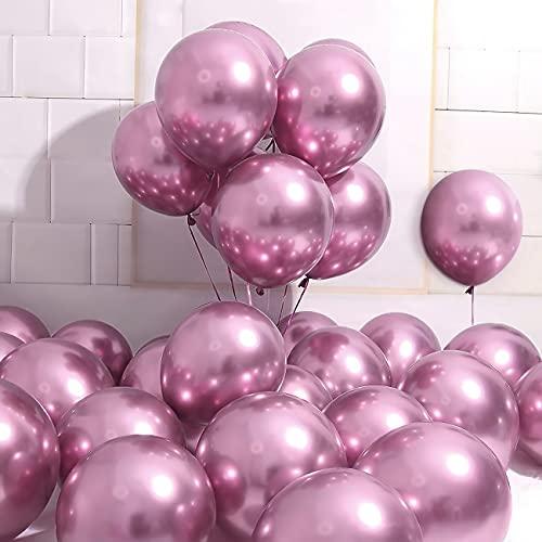 Unisun Globos de color rosa metálico, 50 globos de látex espesados de...