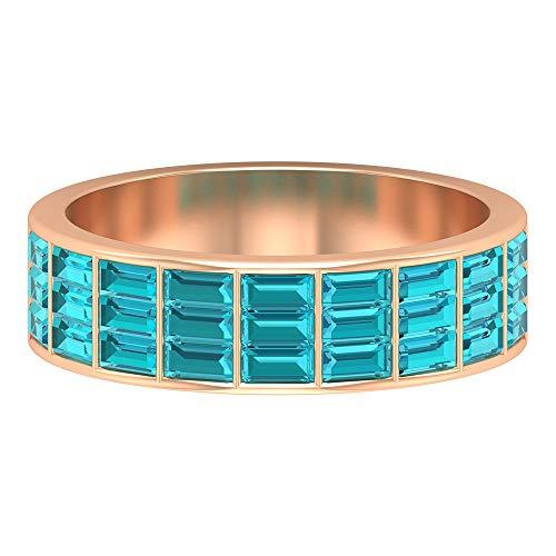 Anillo de eternidad, 1,75 CT creado en laboratorio verde paraiba turmalina anillo, anillo de corte baguette, media banda de eternidad, 14K Oro rosa, Size:EU 70