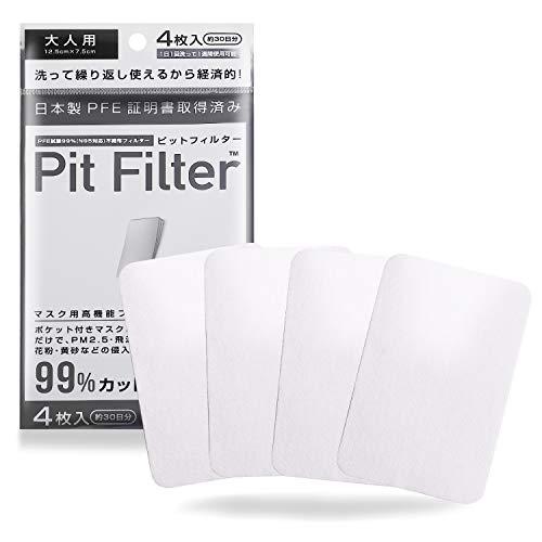 ノーズマスクピット 不織布 フィルター 使用 日本製 高機能マスク マスクフィルター 洗える 試験証明書取得済み ウイルス 予防 対策4枚入り 約1か月分 2サイズ (ピットフィルター, 小さめサイズ) (ピットフィルター, ノーマルサイズ)