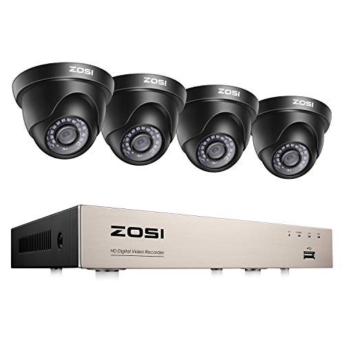 ZOSI 8CH 1080P Home Security Cameras System,H.265+ 8 Channel 5MP-Lite CCTV DVR and 4pcs 2.0MP 1920TVL Surveillance Outdoor Indoor Dome Cameras,80ft Night Vision,Motion Alerts, Remote Access,NO HDD