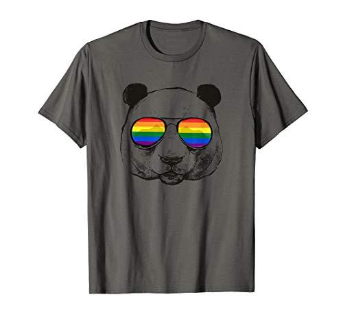 LGBT Gay Pride Regenbogen Flagge Rainbow Panda Bär LGBTQ T-Shirt