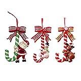 HLTER 3 bastones colgantes de árbol de Navidad, bastones de caramelo de plástico, muleta, muñeco de nieve de Santa Claus pequeña muleta, árbol de Navidad, colgante para árbol de Navidad colgante