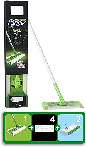 Swiffer Balai Attrape-Poussière 3D Clean Kit de Démarrage, 1 Balai + 4 Lingettes Sèches + 2 Lingettes Humides, Attrape et Retient la Poussière