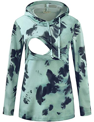 Baikea Mama Sweatshirt, Pullover Sweaters Women Oversized Nursing Hoodies with Drawstring V Neck Long Sleeve Breastfeeding Clothes Casual Tunic Tops Tie Dye Green With Deep Grey X-Large