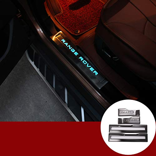 YIWANG 304 Acero Inoxidable Interior Puerta Sill Scuff Plate Guardias Trim 4 piezas para RangeRover Evoque 2012-2018 Auto Accesorios
