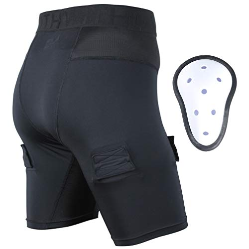 EALER Athletic Supporter, Compression Ice Hockey Shorts Breathable Black with Cup Pocket, Boys Teens Sports Pant for Hockey 1 Pack YL