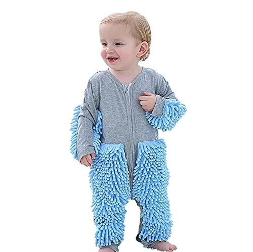 LISI Bebé Fregona Mameluco para 3-24 Meses Niños Niñas Pisos Limpieza Mop Footie Traje, Interesante Cremallera Pijama