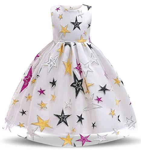NNJXD Filles Pentagram Imprimé Robe Robe Carnaval Fantaisie Costume Taille (130) 5-6 Ans Blanc