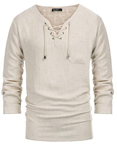 PJ PAUL JONES Mens Linen Cotton Shirt Hippie Shirt Casual Beach V Neck Tops Beige M