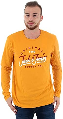 JACK & JONES Camiseta Estampada Manga Corta Hombre Amarilla