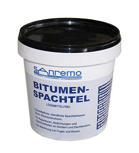 (5,40€/kg) Sanremo BITUMENSPACHTEL lösemittelfrei Spachtelmasse Bitumen Abdichtung 1kg