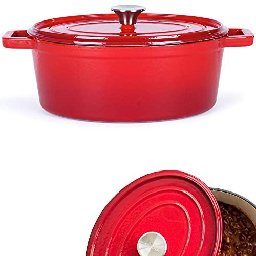 Rostiera in ghisa smaltata ovale – Pentola con coperchio per forno – Pentola per cottura a induzione – Pentola 4,5 litri – Pentola per pane 29 cm – Rosso