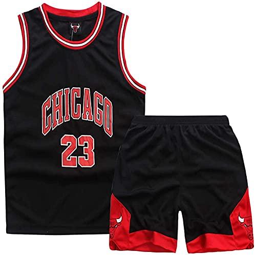 Jersey De Baloncesto Chicago Bulls # 23 Michael Jordan Baloncesto Camiseta Y Pantalones Cortos para Niños Jersey, Traje Deportivo De Malla Transpirable,Negro,L:140~150cm