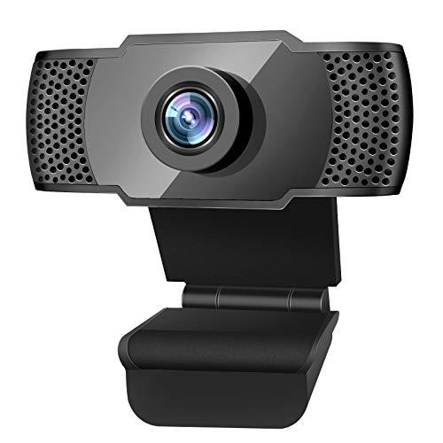SUMGOTT Cámara Web 1080P HD con micrófono, cámara Web USB 2.0, cámara Web para Youtube, Video Chat, Estudio, conferencias, grabación, Clases en línea, Juegos (Negro)