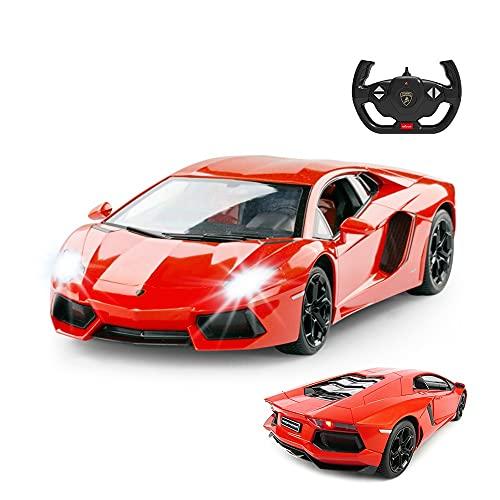RASTAR RC Lamborghini Toy Car, 1:14 Lamborghini Aventador LP700-4 Remote Control Car, Working Lights - Orange