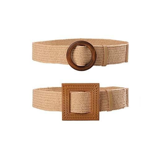 CHIC DIARY Cinturón de paja para mujer con hebilla de madera, cinturón...