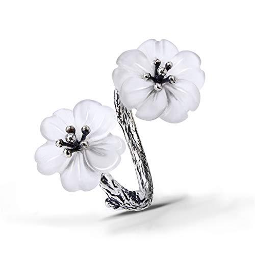 Lotus Fun S925 Sterling Silber Ring Blume im Regen Ring Natürlicher Kristall Handgemachter Einzigartiger Schmuck für Frauen und Mädchen (Antique Silber)