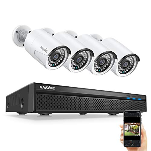 SANNCE 8CH 5MP PoE Home Security Camera System, 4pcs Wired 5MP Outdoor PoE Cameras, 5MP 8-Channel NVR Security System with NO HDD for 24/7 Recording, Motion Alert, Smartphone, PC Easy Remote Access