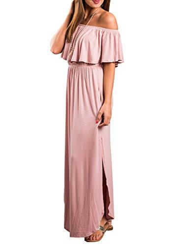 Choies Women's Off Shoulder Ruffle Maxi Dress Side Split Pockets Long Dress M Pink