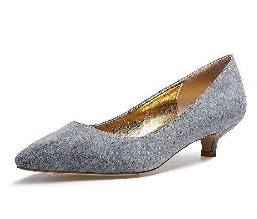 CASTAMERE Zapatos de Tacón Mujer Sexy Medio Mini Tacón Tacón de Aguja 3CM Gris Ante Zapatos EU 42