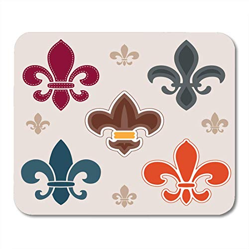 Mauspads Emblem Scout Von Verschiedenen Fleur De Lis Symbolen Und Grafiken Abzeichen Flower Mouse Pad Für Notebooks, Desktop-Computer Mausmatten, Büromaterial