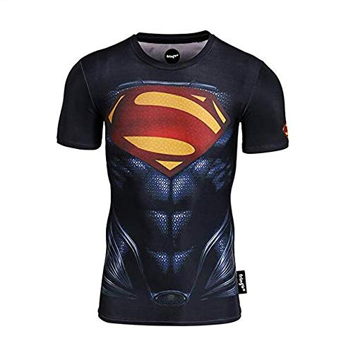 JUFENG T Shirts De Compression pour Hommes Spiderman , Chemises Fitness , T Shirt Fitness Hero Armor Sports,F S