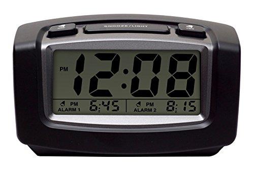 Timelink Black & Titanium Digital Dual LED Clock for Bedrooms Travel, 2 Separate Alarms, Ascending Beeping Sound, Night, Demand Blue Back Light, Brightness Dimmer Dial, 5 Minute Snooze, Black