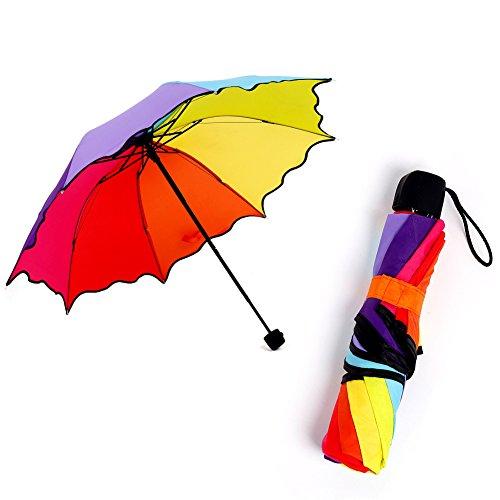 DaoRier Spitze Regenbogen Regenschirm Aluminium Schirmständer mit 8 Edelstahl Rippen Lightweight Practical Regenschirm für Frau Männlich