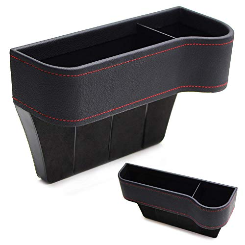 iJDMTOY (1) Black Leather Console Side Pocket Organizer, Car Seat Catcher w/Cup Holder Compatible With Drinks, Key, Wallet, Phone, Sunglasses, etc