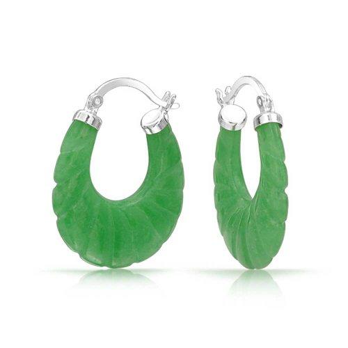 Quiso Teñido De Verde Jade Pendiente De Aro Oval Redondo Para Mujer 925 Plata De Ley 925 0,75 Pulgadas De Diámetro
