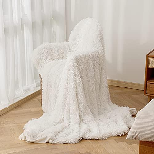 ARKEY Zotteldecke aus Kunstfell, weich, lang, warm, elegant, gemütlich, flauschig, als Tagesdecke geeignet, Fleece, weiß, 160 x 200 cm