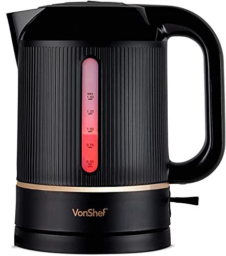 VonShef Wasserkocher 1,5L, 2200W – Wasserstandsanzeiger, Abnehmbarer Filter & automatische Abschaltfunktion – Elektrisch & kabellos – Schwarz & Kupfer