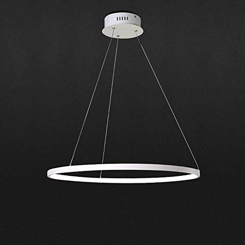 LED Pendelleuchte 1 Ring Rund Design Hängelampe Hängeleuchte Modern Beleuchtung Leuchte für Wohnzimmer Esszimmer Küche Acryl und Aluminium Lampe 35W Warmweiß 3000K, Ø 60cm
