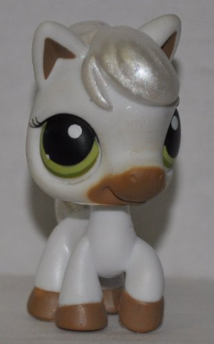 Horse #338 (No Saddle: White) - Littlest Pet Shop (Retired) Collector Toy - LPS Collectible Replacement Figure - Loose (OOP Out of Package & Print)