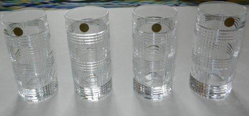 4 Ralph Lauren Glen Plaid Crystal Highball Tumblers Glasses