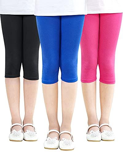 Adorel Leggings 3/4 Cortos Algodón Pantalón Niña Pack de 3 Azul & Rosa & Negro 10-11 Años (Tamaño del Fabricante 150)