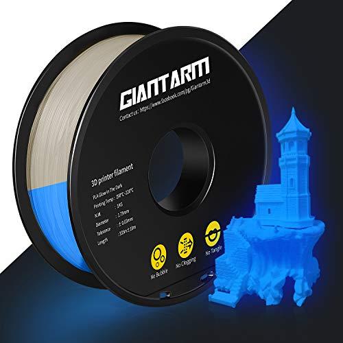 GIANTARM PLA Filamento 1,75 mm azul Luminous PLA impresora 3D, 1 kg Spool