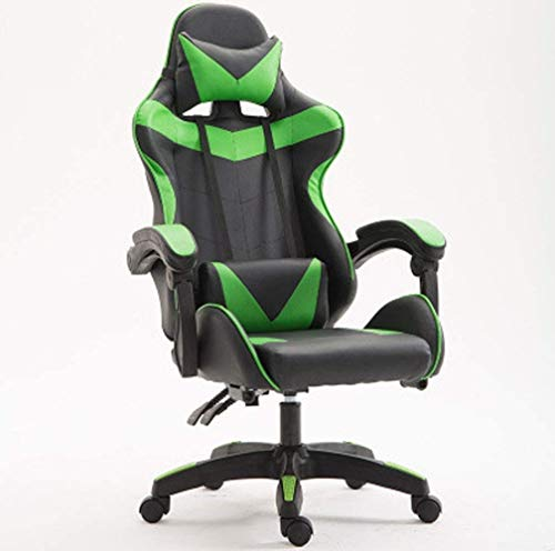 WSDSX Office Chairs Computer Chairs,Desk Chair Adjustable Office Gaming Racing Chair Lumbar and Head Pillow Chair,Gaming Chair footrest Massage Gaming Chairs for Adults-Green (Color : Gr