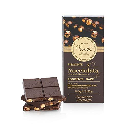 Venchi Tavoletta di Cioccolato Fondente 56% con Nocciole Piemonte IGP Intere, 100g - Senza Glutine