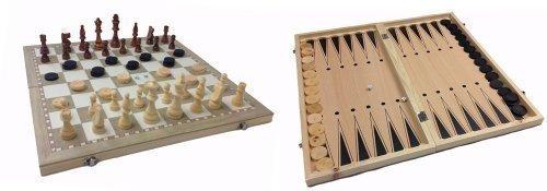 Spiel Schach-, Damen- & Backgammonspiel(Nardy), massives Holz, Spielbrett 44 х 44 sm