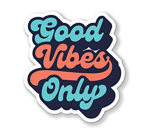 """Good Vibes Only Decal Bumper Sticker for Cars, Cups, Laptops, Coolers (3""""x3"""")"""