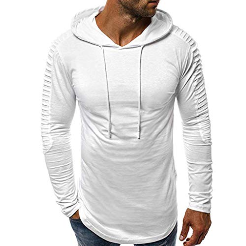 Sudadera de Manga Larga de Plisada Camisa con Capucha Color Sólido Deportiva Ropa Casual Camisa Top para Hombre(M,White)