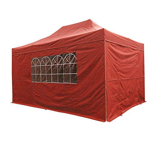AIRWAVE Gazebo Four Seasons Essential Pop Up Shelter with Sides Waterproof 3 x 4.5m (Red)