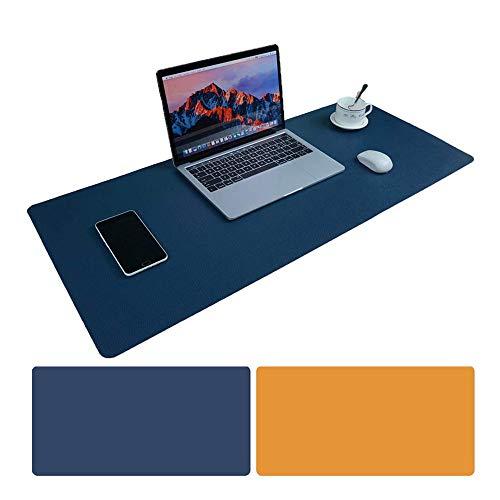 Tappetino per mouse ufficio 900 x 400 x 2 mm Ultra Sottile Antiscivolo e impermeabile PU Pelle Tappetino Per Ufficio Super-Portable doppio lato sottomano (Blu+giallo)