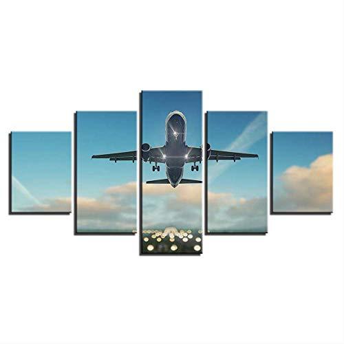 DGGDVP huisdecoratie, schilderijen op canvas, muurkunst, 5 stuks, vliegtuig, vliegen in de hemel, modulaire afbeeldingen, HD-printen, wolken, landschap, schild voor woonkamer 30x40cmx2 30x60cmx2 30x80cmx1 Geen frame