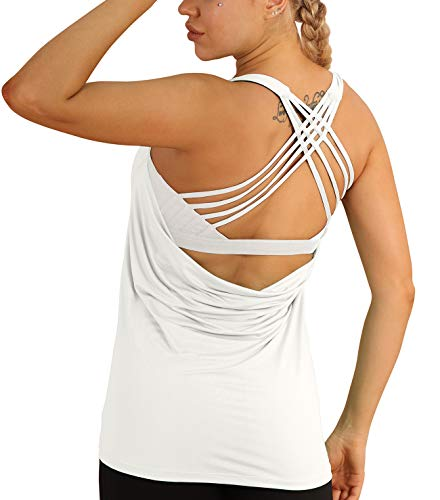 icyzone Damen Sport Tops mit Integriertem BH - 2 in 1 Yoga Gym Shirt Fitness Training Tanktop (M, Off White)