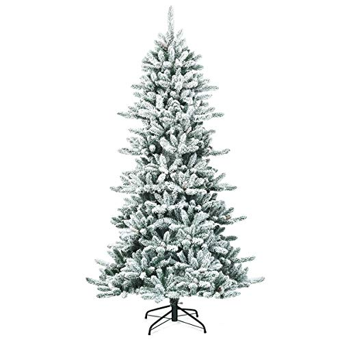 Goplus 7ft Snow Flocked Artificial Christmas Tree, Premium Hinged Fir Tree with Pine Cones, Perfect Xmas Decoration for Indoor and Outdoor
