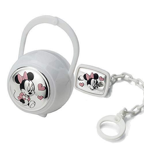 Disney Baby - Minnie Mouse - Clip para chupete con cadena de cuentas - Detalles en plata