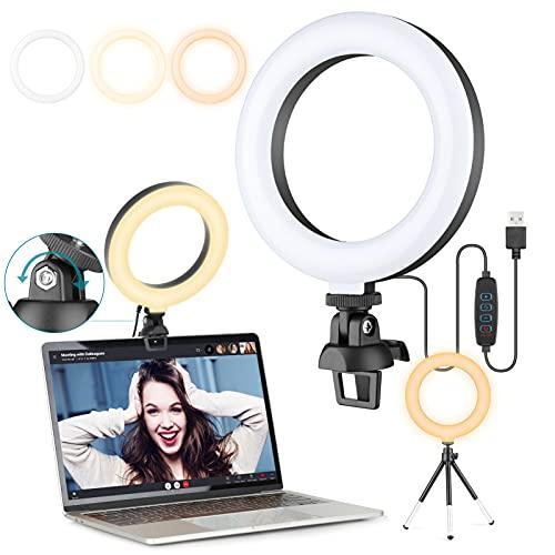 6' Ringlicht Laptop, Videokonferenz Licht, Selfie Beleuchtung Set Leuchte mit Stativ & Clip für Zoom Meeting,Webcam, Tiktok, Makeup, Live Stream, YouTube, Fotografie/Dimmbare
