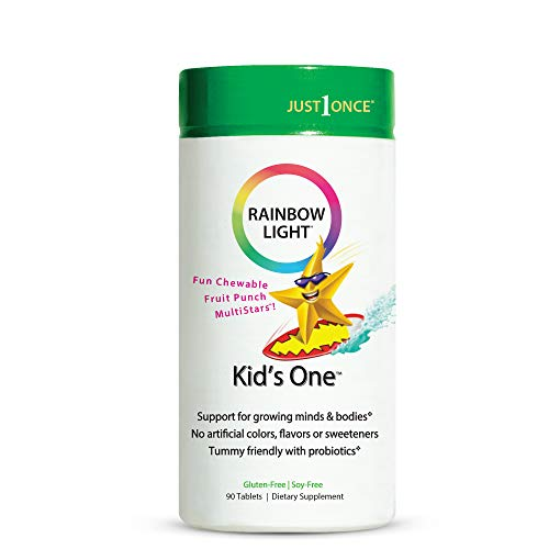 Rainbow Light Kids One Multivitamin, Chewable Probiotic, Vitamin, and Mineral Supplement; Supports Brain, Bone, Heart, Eye and Immune Health in Kids, Fruit Punch Flavor - 90 Tabs (Packaging May Vary)